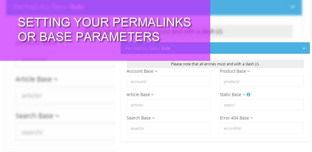 Setting your Permalinks or Base Parameters