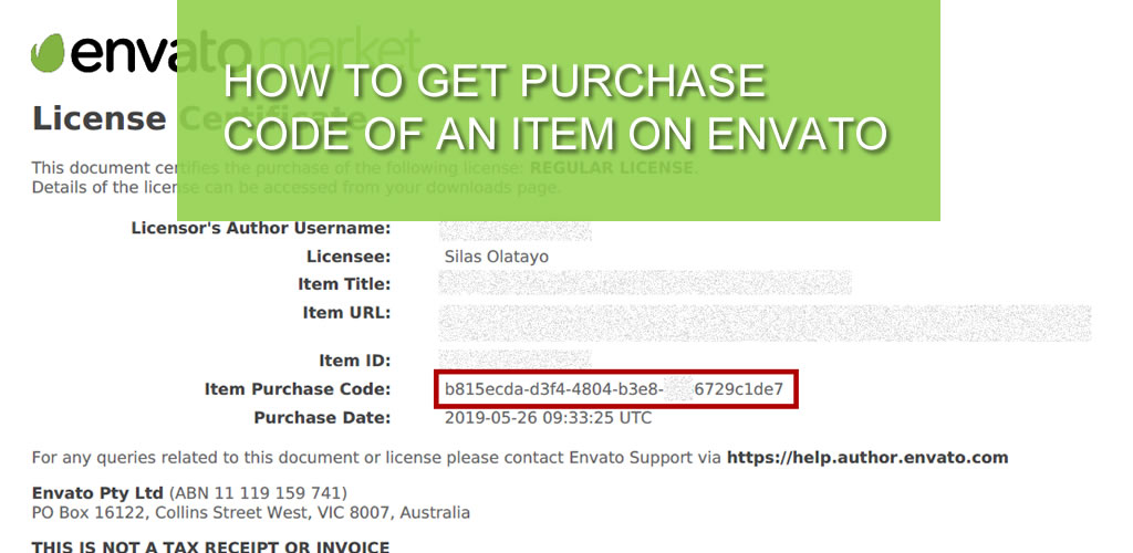 How to get Purchase Code of an Item on Envato